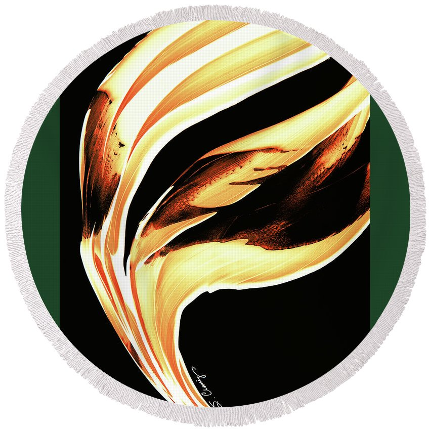 Sharon Cummings Round Beach Towel featuring the painting Firewater 2 - Buy Orange Fire Art Prints by Sharon Cummings