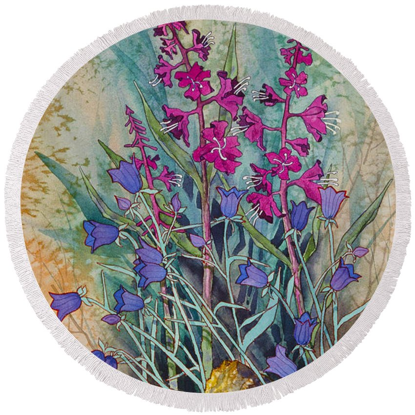 Fireweed And Bluebells Round Beach Towel featuring the painting Fireweed And Bluebells by Teresa Ascone
