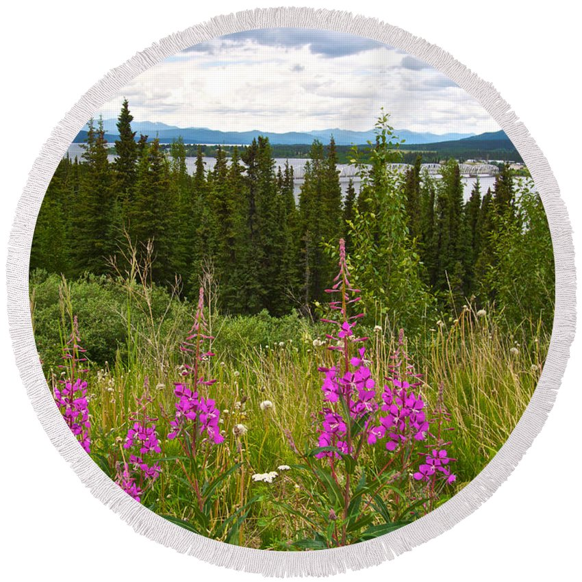 Fireweed Near Bridge Across Nisutlin River To Teslin Round Beach Towel featuring the photograph Fireweed Near Bridge Across Nisutlin River To Teslin-yk by Ruth Hager