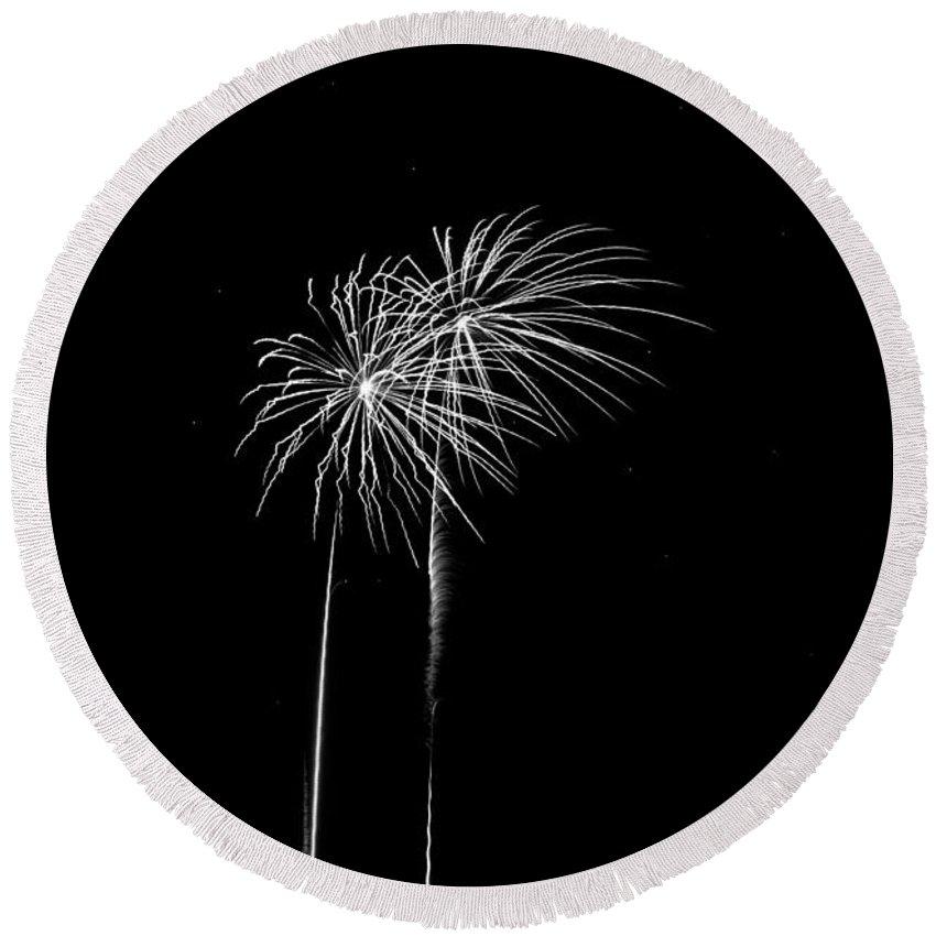 Addison Kaboom Round Beach Towel featuring the photograph Firework Palm Trees by Darryl Dalton
