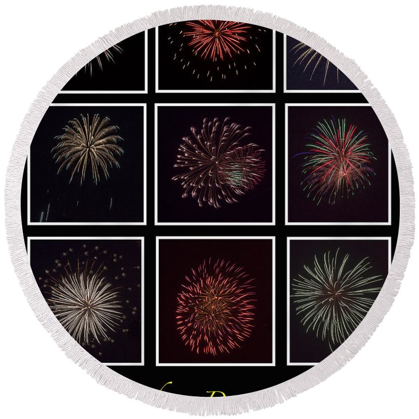 Fire Round Beach Towel featuring the photograph Fireworks - Black Background by Scott Hervieux
