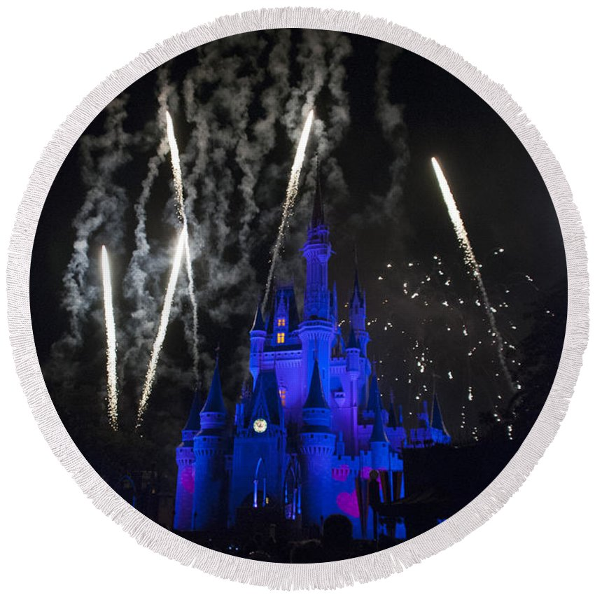 Disney World Round Beach Towel featuring the photograph Fireworks-0703 by David Lange