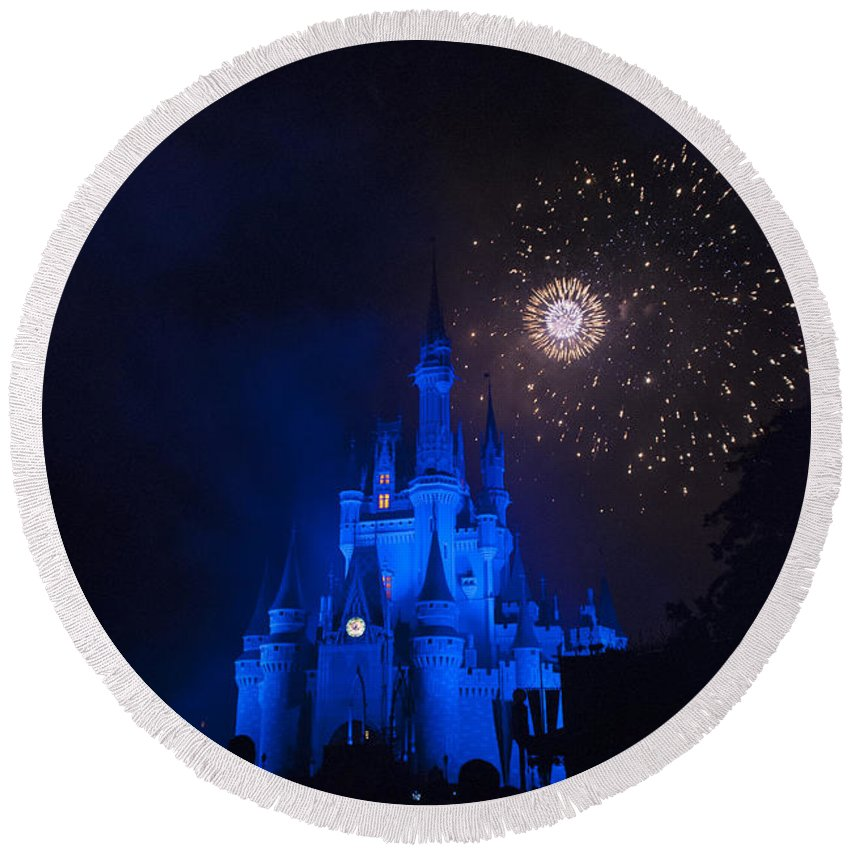 Disney World Round Beach Towel featuring the photograph Fireworks-0761 by David Lange
