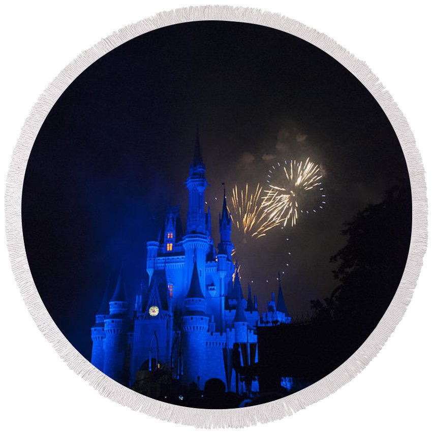 Disney World Round Beach Towel featuring the photograph Fireworks-0762 by David Lange