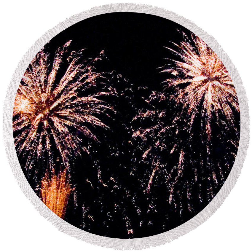 Fireworks Round Beach Towel featuring the photograph Fireworks by Tim Holt