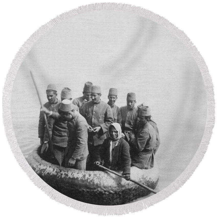 1912 Round Beach Towel featuring the photograph First Balkan-turkish War by Underwood Archives