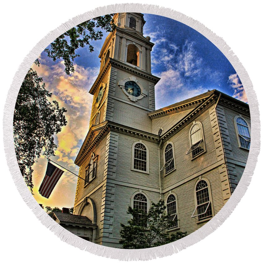 America Round Beach Towel featuring the photograph First Baptist Meeting House by Stephen Stookey