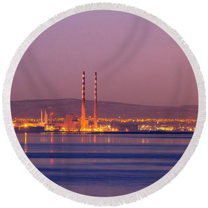 North Wall Generating Station Round Beach Towel featuring the photograph First Blush by Robert Phelan