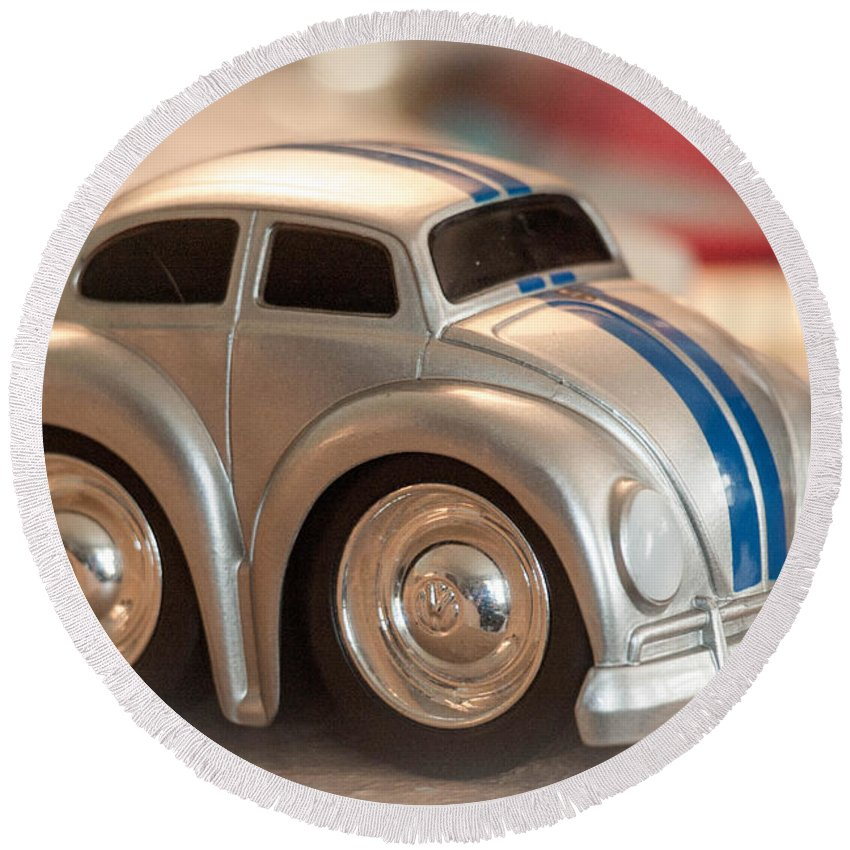 Car Round Beach Towel featuring the photograph First Car by Cathy Smith