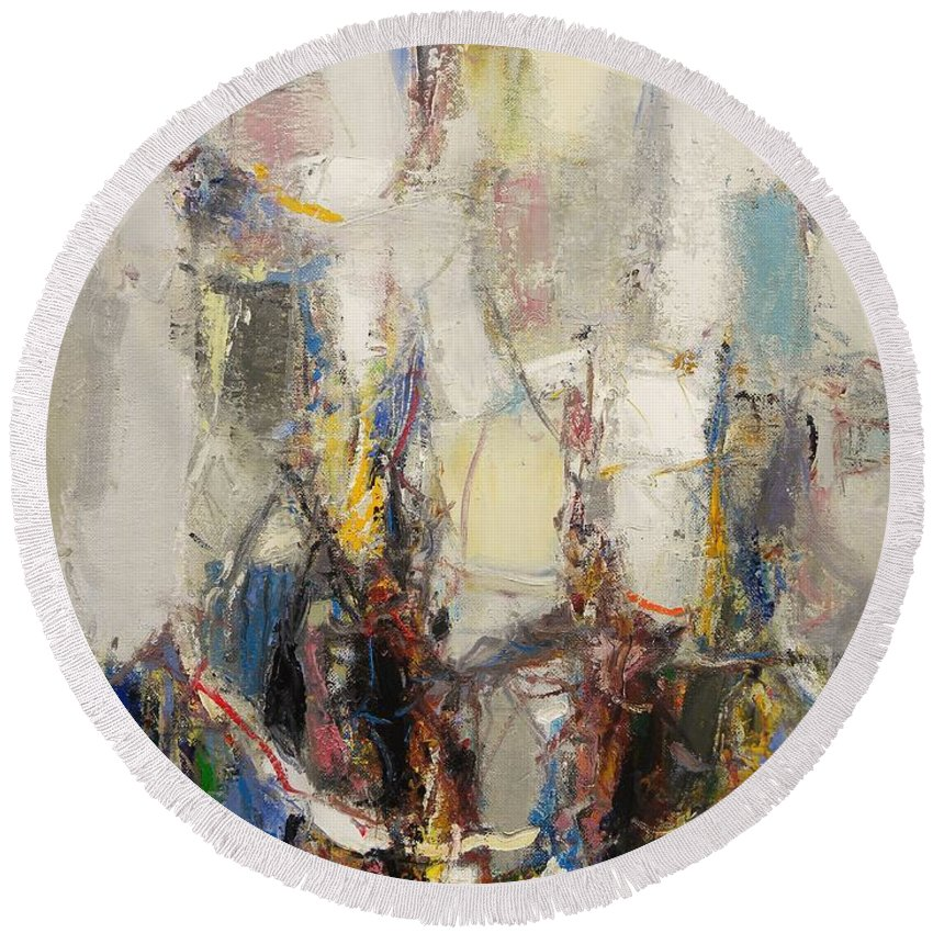Abstract Round Beach Towel featuring the painting First Date by Grigor Malinov