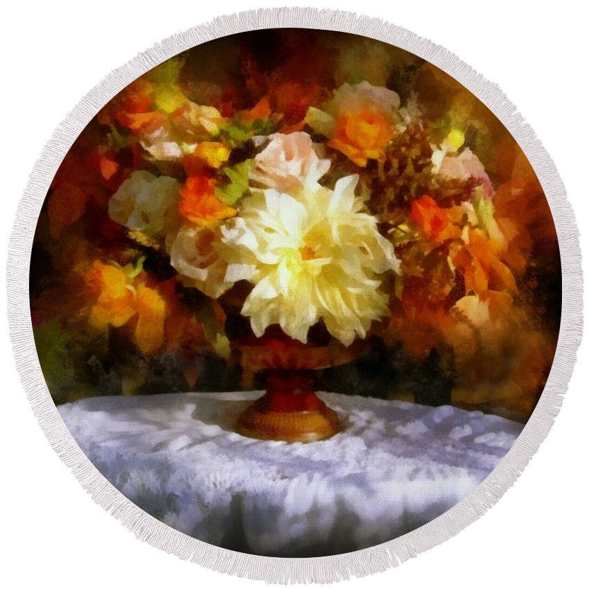 Flowers Round Beach Towel featuring the painting First Day Of Autumn - Still Life by Lilia D