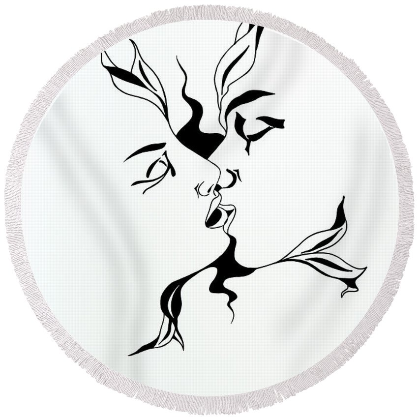 Love Round Beach Towel featuring the drawing First Kiss by Yelena Tylkina