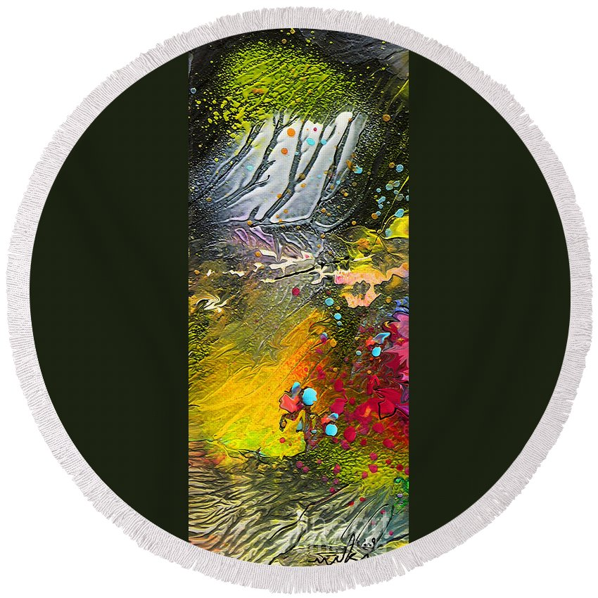 Miki Round Beach Towel featuring the painting First Light by Miki De Goodaboom