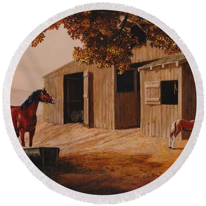 Farm Round Beach Towel featuring the painting First Meeting by Duane R Probus