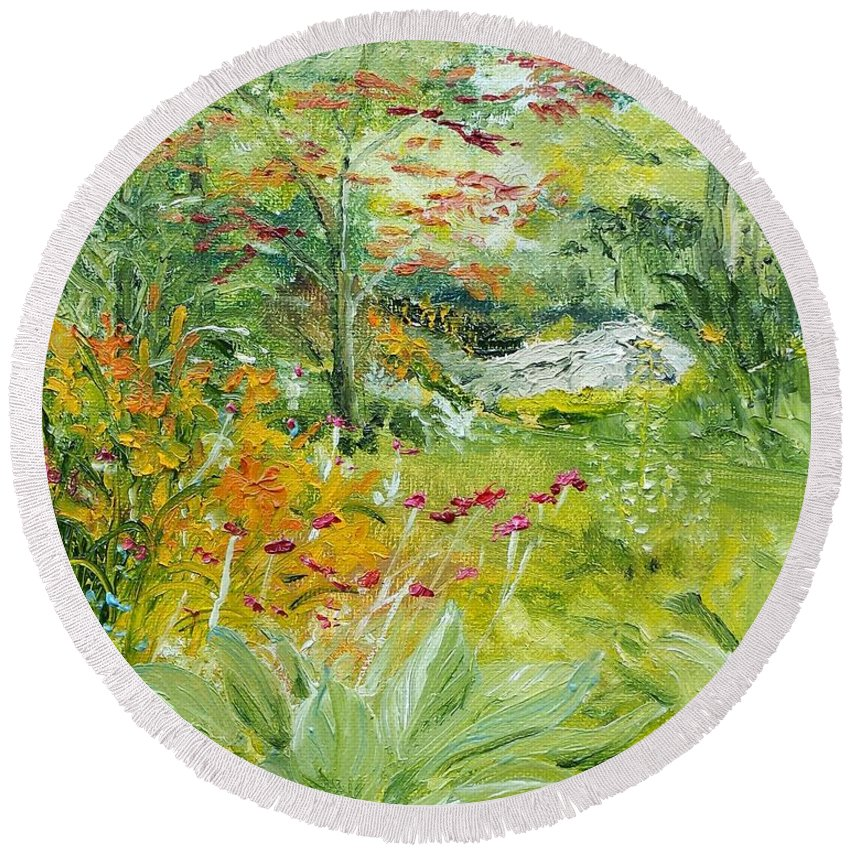 Garden Round Beach Towel featuring the painting First Of July by Susan Hanna