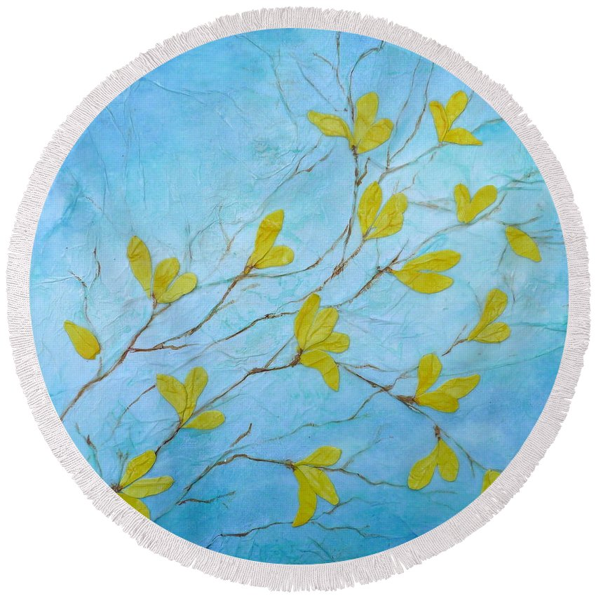 Forsythia Round Beach Towel featuring the painting First Signs Of Spring by Carla Parris