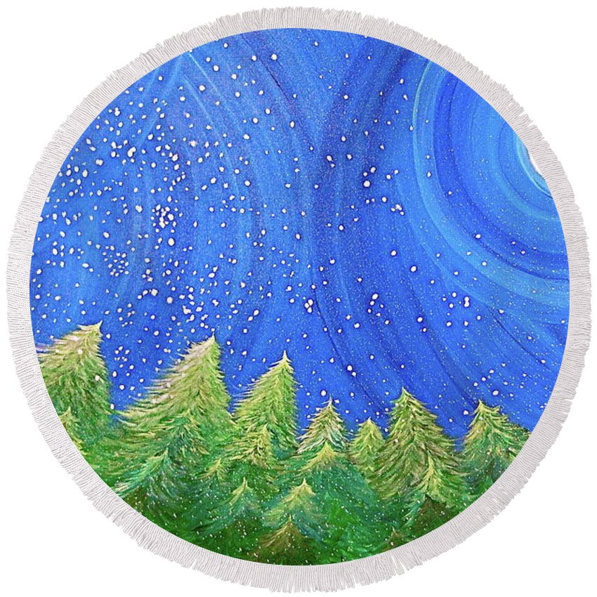 Snow Round Beach Towel featuring the painting First Snow By Jrr by First Star Art