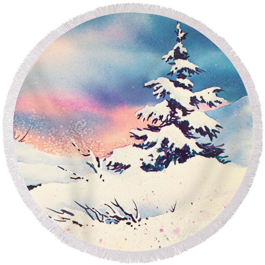 First Snow Round Beach Towel featuring the painting First Snow by Teresa Ascone