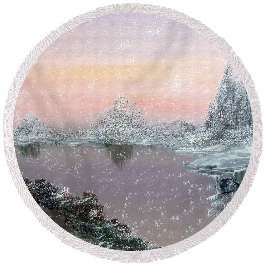 Snowfall Round Beach Towel featuring the painting First Snowfall by Alys Caviness-Gober