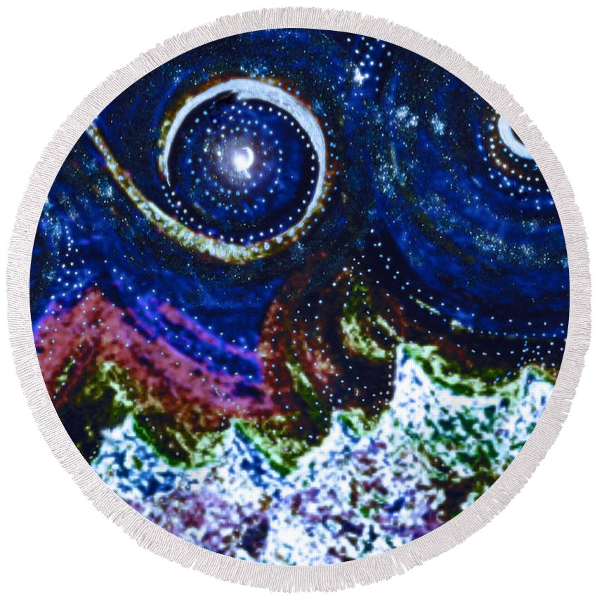 First Star Round Beach Towel featuring the painting A Beautiful Life By Jrr by First Star Art