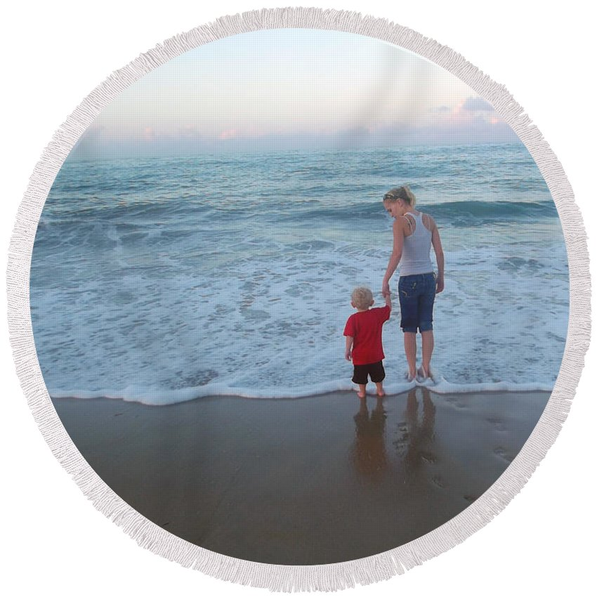 Ocean Round Beach Towel featuring the photograph First Time At The Beach by Jennifer Lavigne