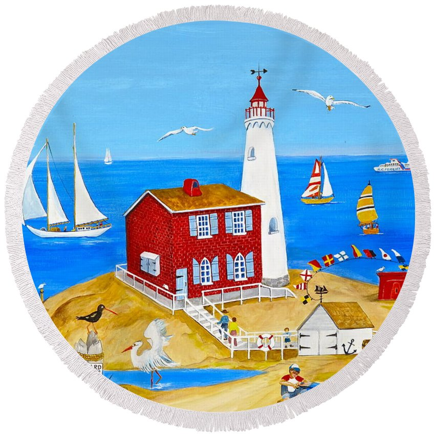 Fisgard Lighthouse Round Beach Towel featuring the painting Fisgard Lighthouse by Virginia Ann Hemingson