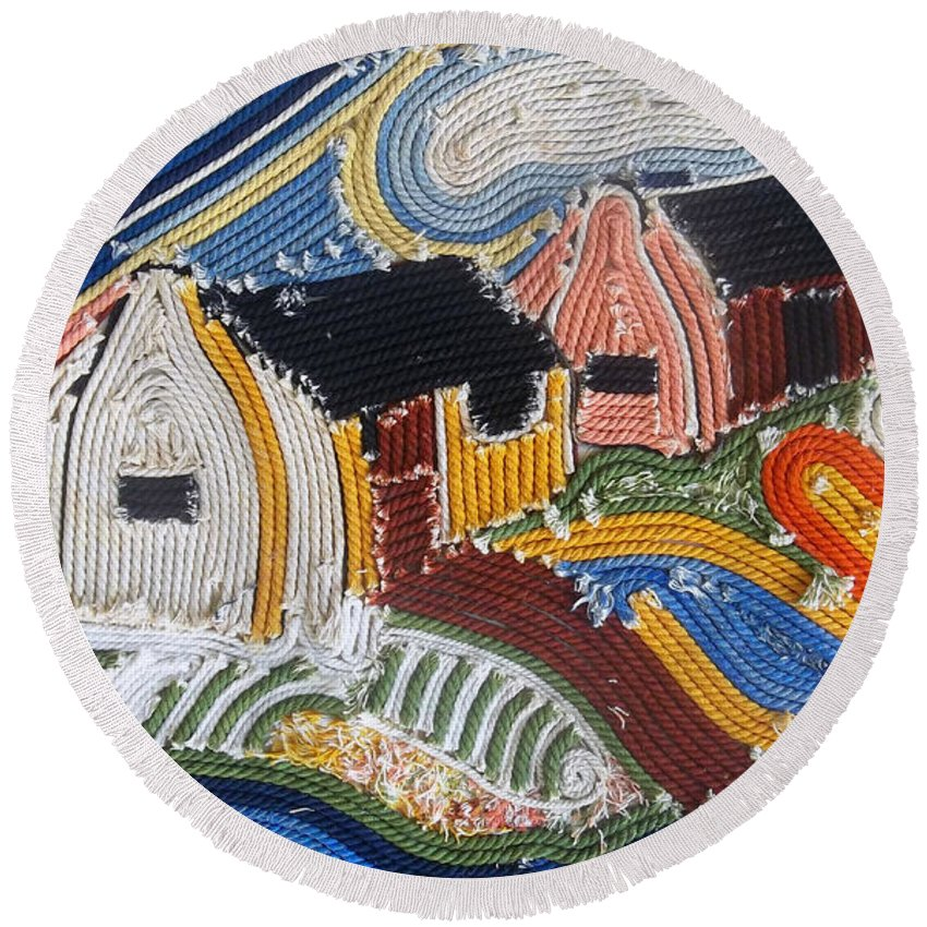Fishing Village Round Beach Towel featuring the mixed media Fishermans Cottages String Collage by Caroline Street