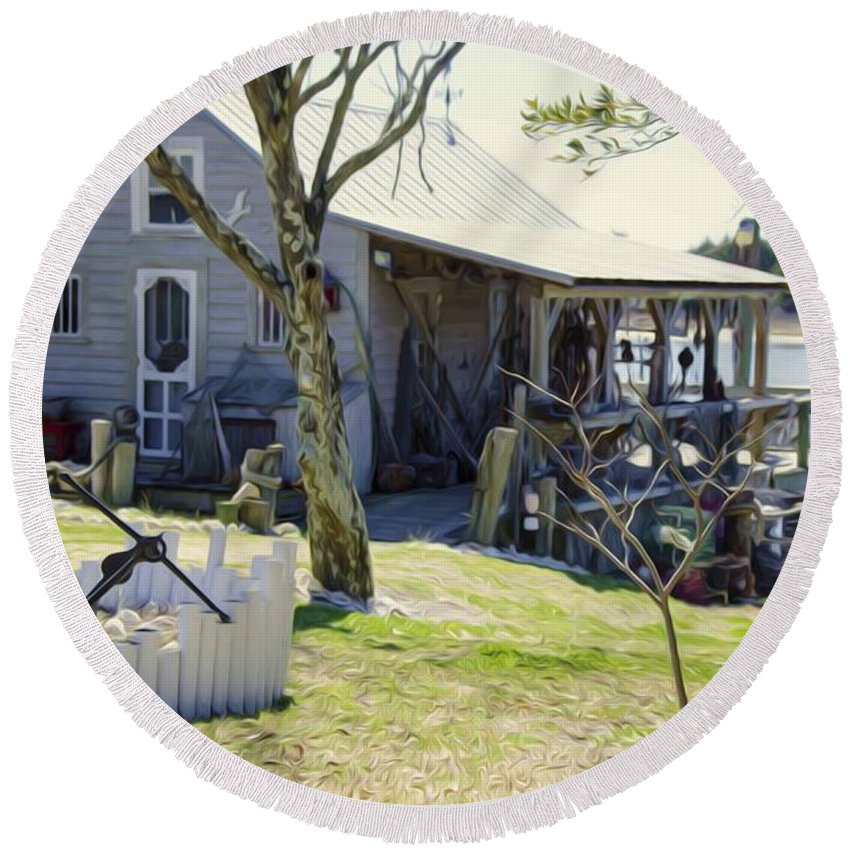 Swansboro Round Beach Towel featuring the painting Fisherman's House 3 by Jeelan Clark