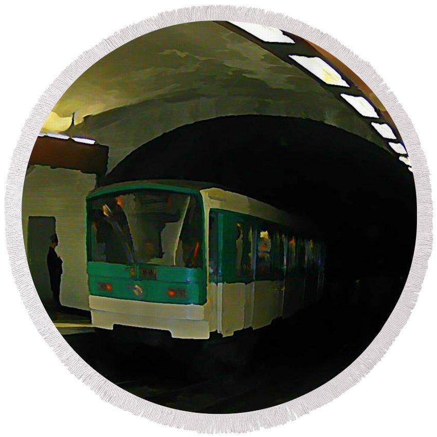 Subway Round Beach Towel featuring the painting Fisheye View Of Paris Subway Train by John Malone