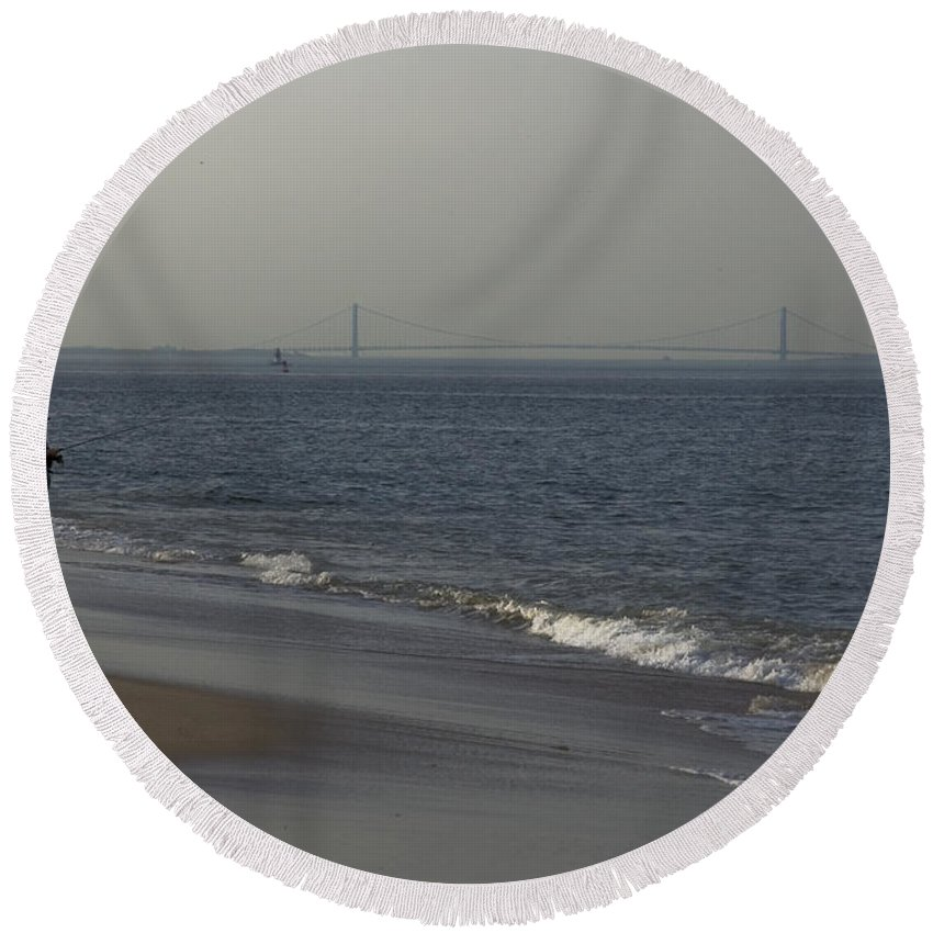 Sandy Hook Round Beach Towel featuring the photograph Fishing At Dusk by Conor McLaughlin