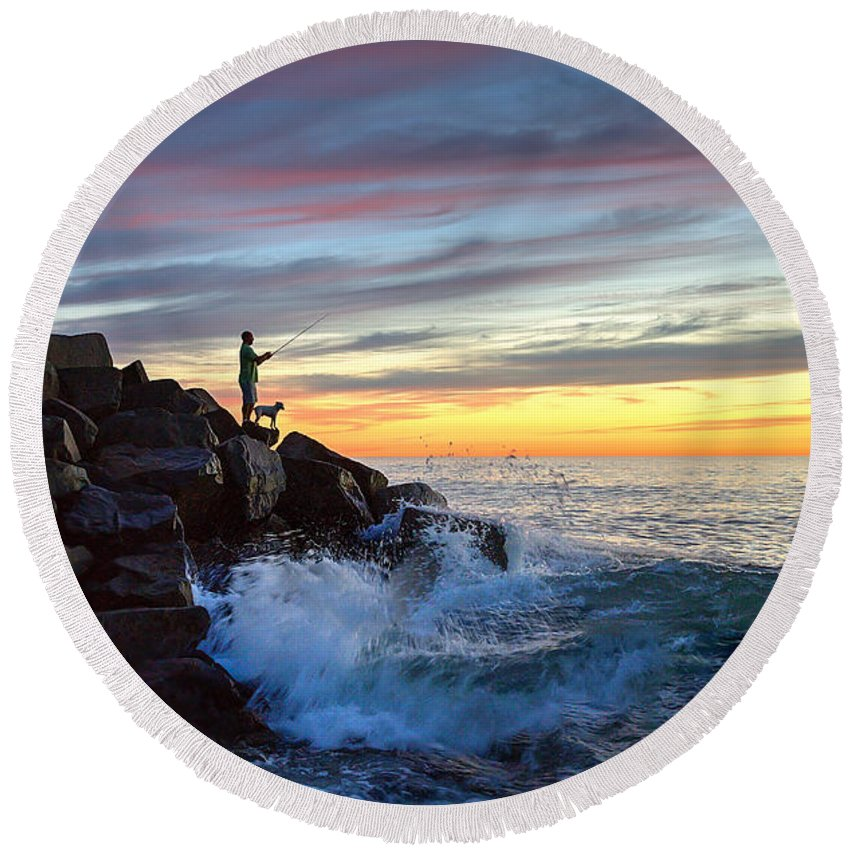 Tamarack Beach Round Beach Towel featuring the photograph Fishing At Sunset by Ann Patterson