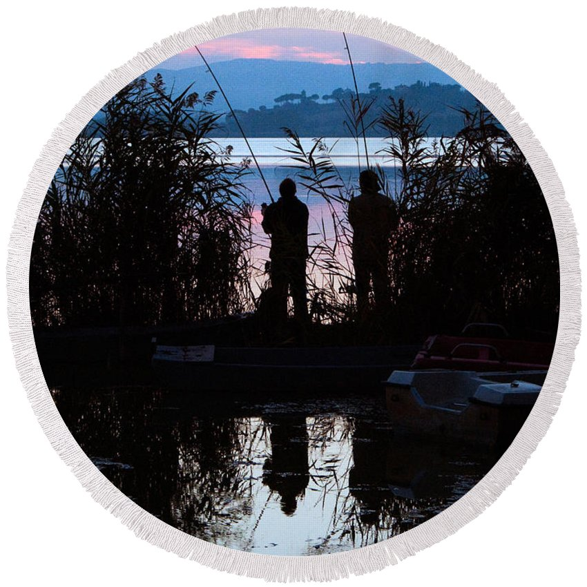 Lake Round Beach Towel featuring the photograph Fishing At Sunset by Tim Holt