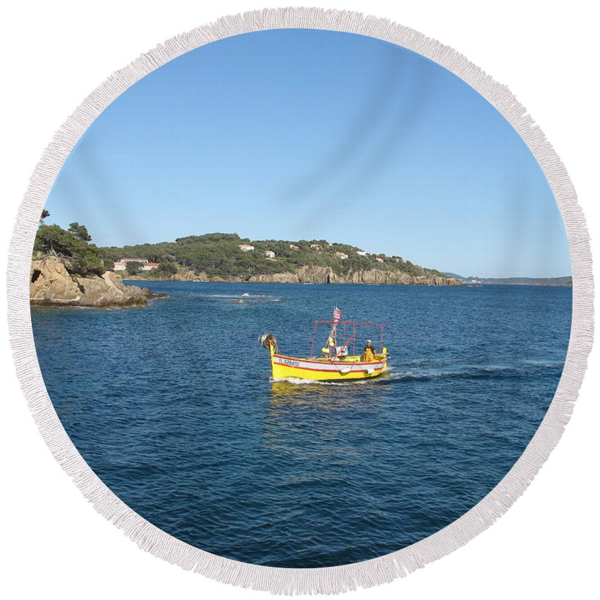 Boat Round Beach Towel featuring the photograph Fishing Boat - Cote D'azur by Christiane Schulze Art And Photography