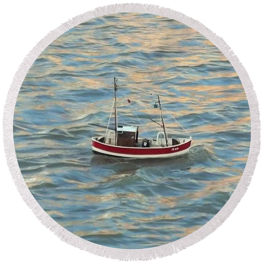 Fishing Boat Jean Round Beach Towel featuring the photograph Fishing Boat Jean by John Williams