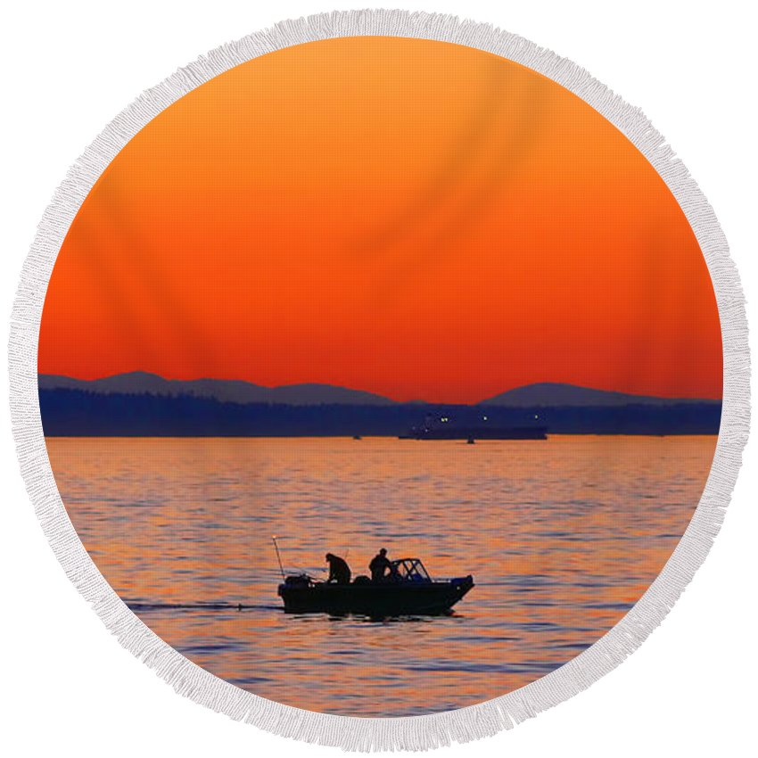 Fishing Round Beach Towel featuring the photograph Fishermen At Sunset Puget Sound Washington by Jennie Marie Schell