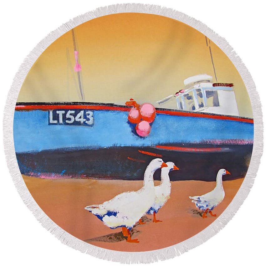 Geese Round Beach Towel featuring the painting Fishing Boat Walberswick With Geese by Charles Stuart