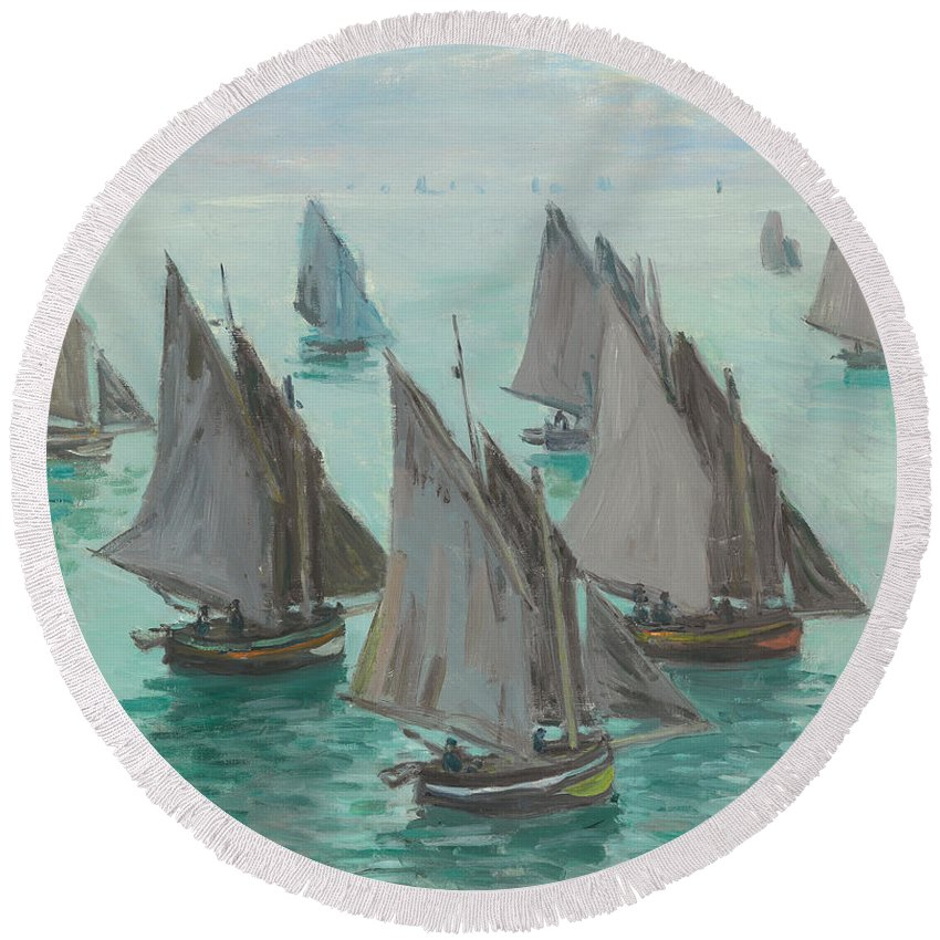 Monet Round Beach Towel featuring the painting Fishing Boats Calm Sea by Claude Monet