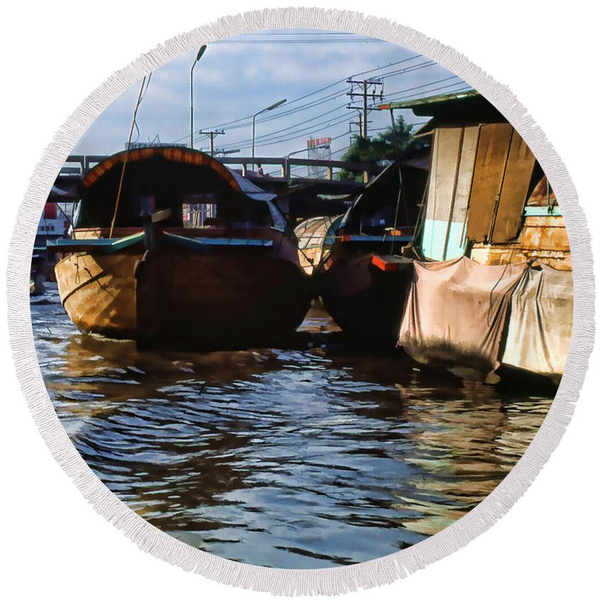 Round Beach Towel featuring the photograph Fishing Boats by Cathy Anderson