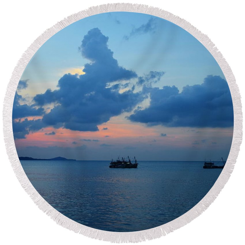 Michelle Meenawong Round Beach Towel featuring the photograph Fishing Boats by Michelle Meenawong