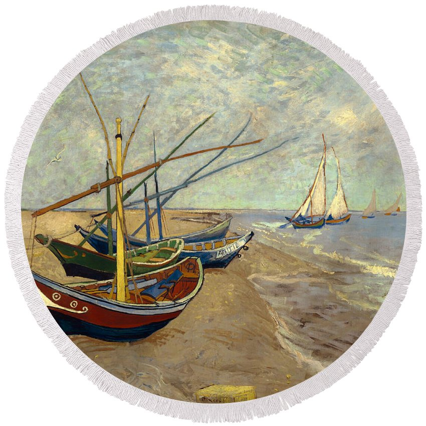 Painting Round Beach Towel featuring the painting Fishing Boats On The Beach At Les Sainte-maries-de-la-mer by Mountain Dreams