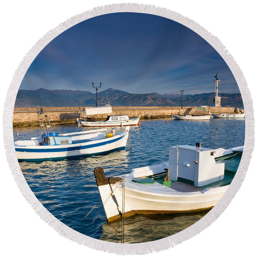 Peloponnese Round Beach Towel featuring the photograph fishing boats 'XIII by Milan Gonda