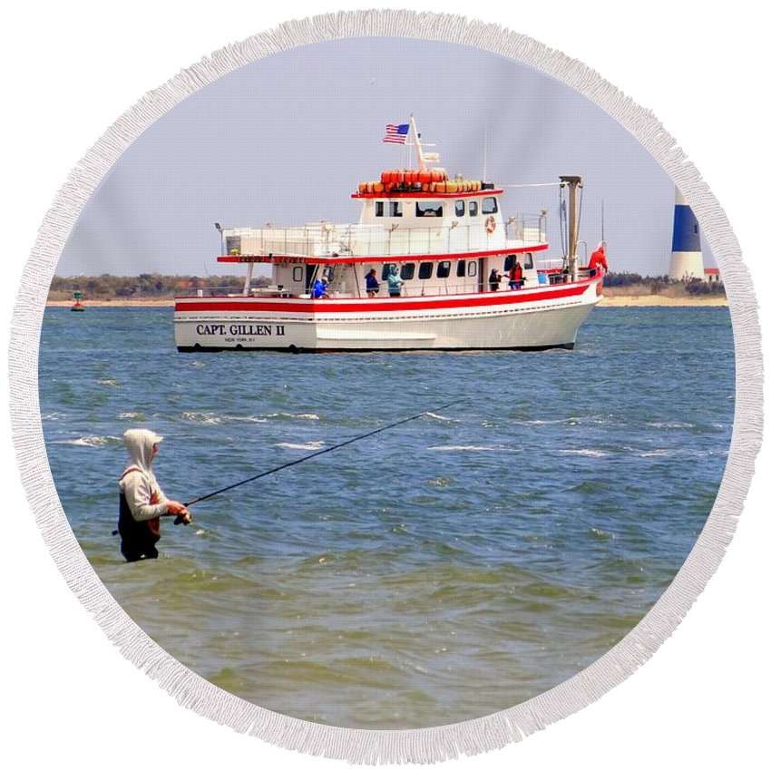 Nature Round Beach Towel featuring the photograph Fishing Fantasy by Ed Weidman