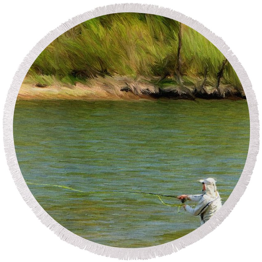 Branson Round Beach Towel featuring the painting Fishing Lake Taneycomo by Jeffrey Kolker