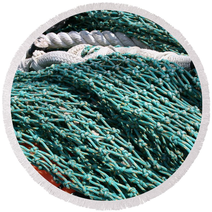 Fishing Nets Round Beach Towel featuring the photograph Fishing Nets by Denyse Duhaime