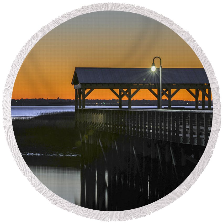 Dusk Round Beach Towel featuring the photograph Fishing Pier At Dusk by Dale Powell