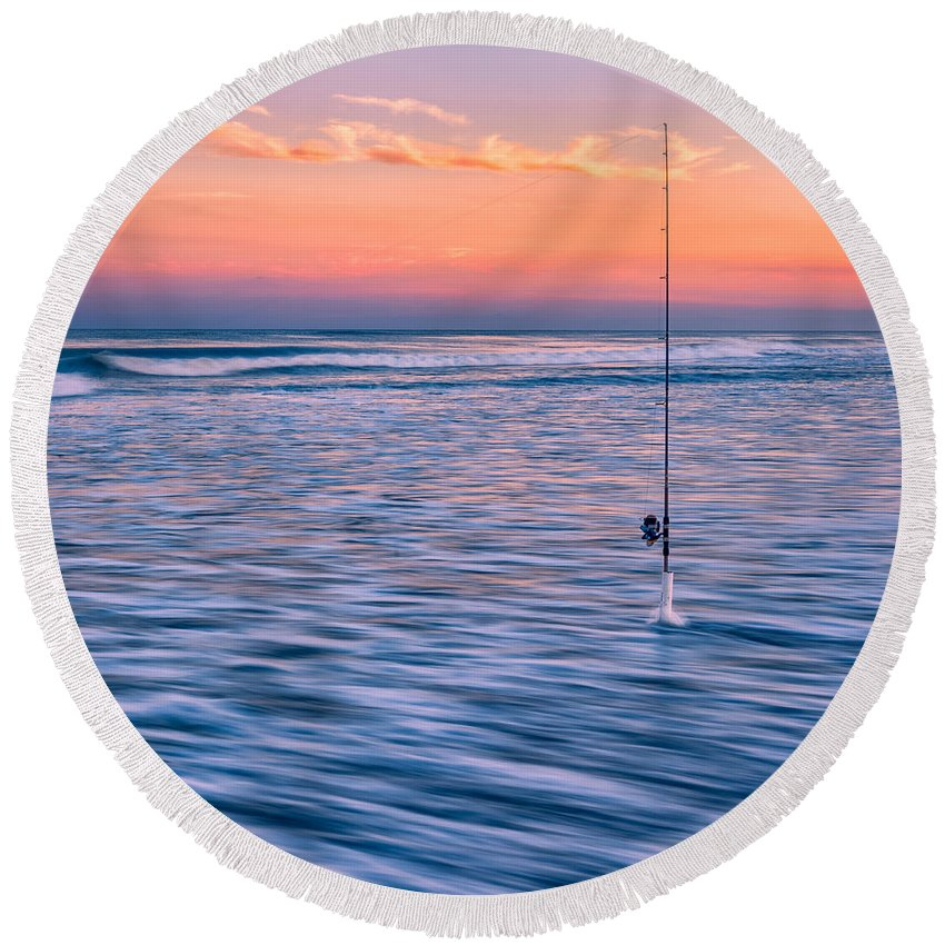 Fishing Round Beach Towel featuring the photograph Fishing The Sunset Surf - Square Version by Mark Robert Rogers