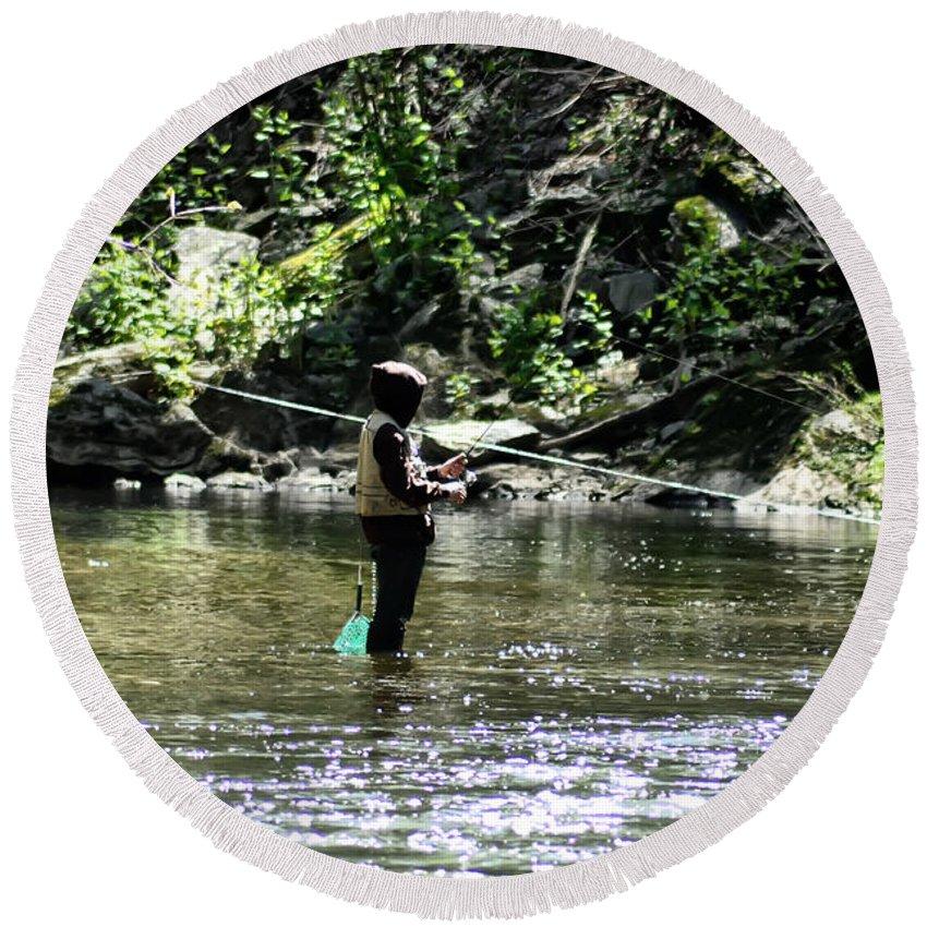 Fishing The Wissahickon Round Beach Towel featuring the photograph Fishing The Wissahickon by Bill Cannon