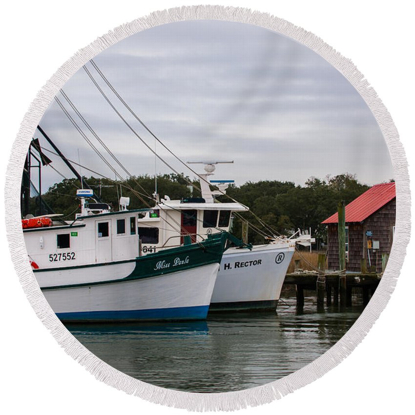 Shrimp Boats Round Beach Towel featuring the photograph Fishing Trawlers by Dale Powell