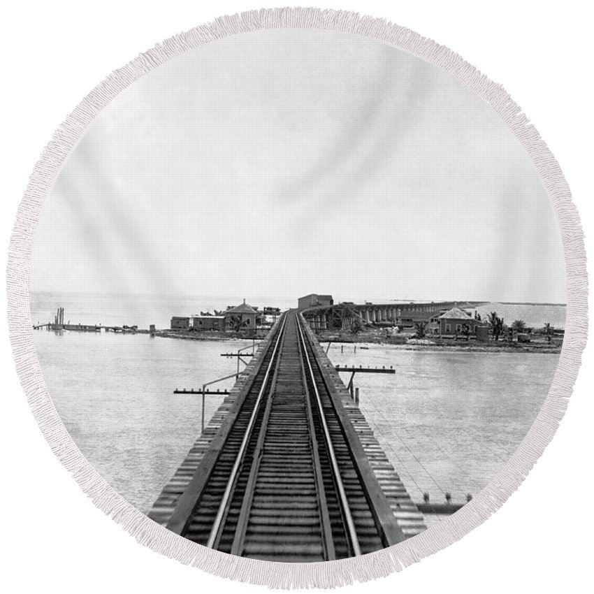 1922 Round Beach Towel featuring the photograph Fishing Village In Key West by Underwood & Underwood
