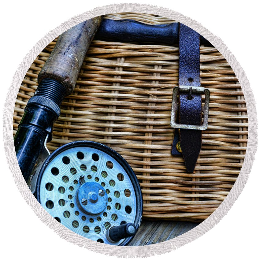 Paul Ward Round Beach Towel featuring the photograph Fishing - Vintage Fly Fishing by Paul Ward